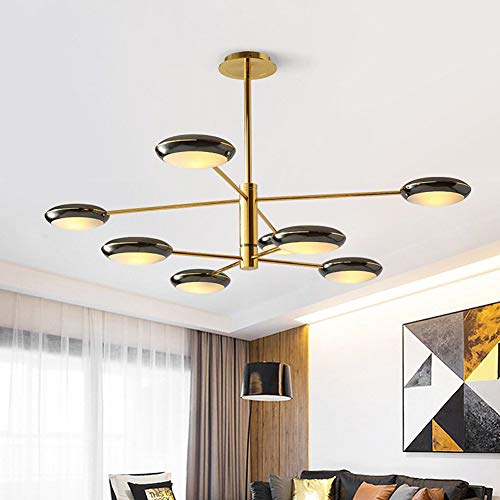 FEE-ZC Living Room Sputnik Chandelier Gold, Led Pendant Lamp Ceiling Light Fixture Mordern Iron Art Acrylic Shade Elegant Corridor Study Bedroom G9 220V, 8 Head