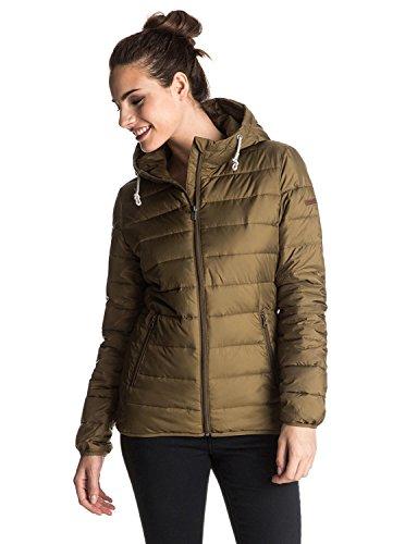 Roxy Women's Forever Freely Insulator Jacket Military Olive S & Travel Sunscreeen Spray (15 SPF) Bundle