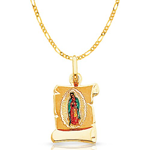 Ioka - 14K Yellow Gold Our Lady of Guadalupe Enamel Picture Religious Charm Pendant with 2mm Figaro 3+1 Chain Necklace - (Yellow Gold Virgin)