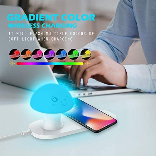 Warm White Light /& Color Changing RGB Lamp for Bedroom,Gift Wireless Charger and Night Light,Leebote Touch Control Bedside Table Lamp Wireless Charger