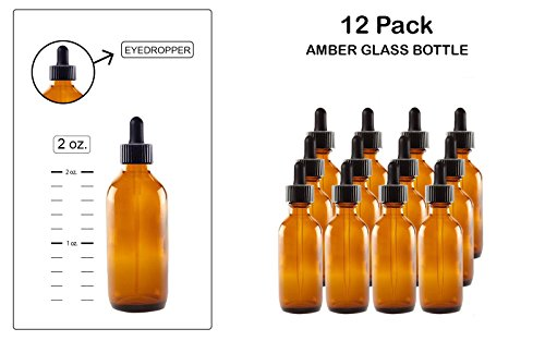 Eye Dropper/Glass Medicine Bottle, Amber Boston Brown Round Bottles 2OZ. 12Pack - For Essential Oils, Scents, Travel, Perfume Kitchen, Bath, Cooking, Labs, Laundry, Cosmetic -Reusable-By - And Brown Amber Round