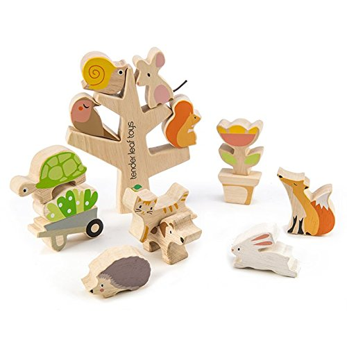 Stacking Garden Friends 14 Piece Wooden Stacking and Balancing Toy & Educational Game WITH FREE TRAVEL BAG- STEM Toy- Early Learning - Develops Strategic Thinking & Fine Motor Skills - Kids 18+ Months