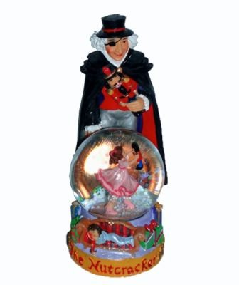 Nutcracker Ballet Gifts Christmas Snow Globe Featuring Uncle Drosselmeyer Holding a Mini Snow Globe Displaying Clara and Her New Doll (4.5 inches tall)