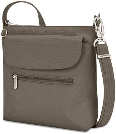 Travelon Women's Anti-Theft Classic Mini Shoulder Bag Sling Tote, Nutmeg