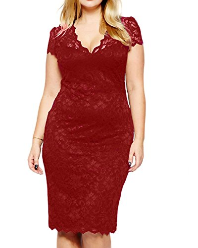 Women's Lace Plus Size V Neck Sexy Bodycon Party Evening Dress