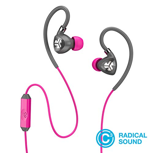 JLab Audio Fit2 Sport Earbuds, Sweatproof, Water Resistant with in-Wire Customizable Earhooks, Guaranteed Fit, Guaranteed for Life - Gray/Pink