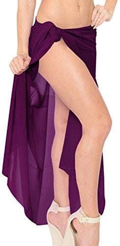 Berenjena Vestido Chiffon Piscina Falda Estola Pareo ba Bikini Cartera Sarong Playa Mujer 60 de colores o Mono EIOE1aqw