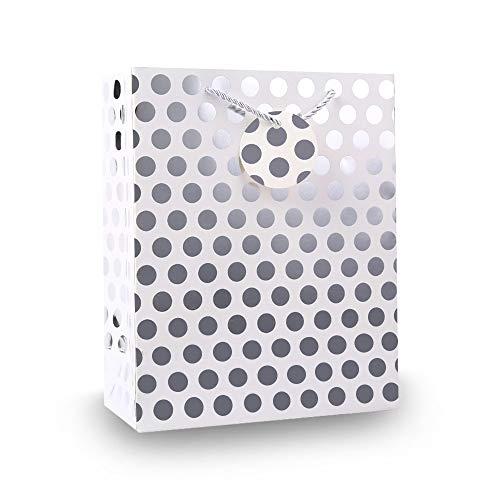- UNIQOOO 12Pcs Premium M-Size Silver Metallic Polka Dots Gift Bags Bulk, 9