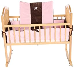 Baby Doll Bedding Cozy Carousel II Minky with Embroidery Cradle Bedding Set, Pink