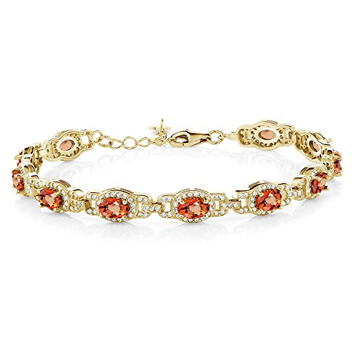 - Gem Stone King 9.65 Ct Oval Orange Sapphire 18K Yellow Gold Plated Silver Bracelet