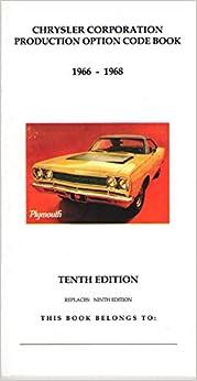 Mopar dodge plymouth chrysler 1966 1967 1968 production code book mopar dodge plymouth chrysler 1966 1967 1968 production code book fender tag vin fandeluxe Gallery