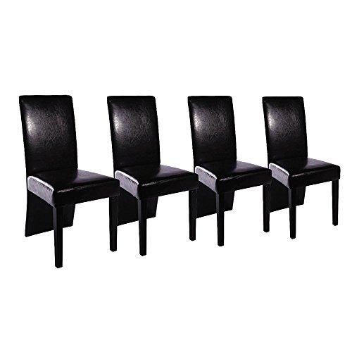Esszimmerstühle Esszimmersessel Klassik (4er Set) lange Lehne, schwarzes Kunstleder