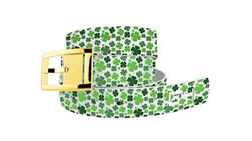 Shamrock St Patrick's Day Belt - Green Clovers with White Strap and Gold Buckle by C4 by C & C