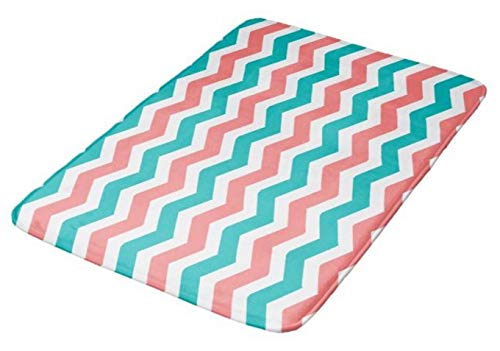 Aomsnet Coral and Teal Chevron Bathroom Decor Mat, Shower Rug Mat Water Absorbent Fast Drying Kitchen, Bedroom, Hotel, Spa Tub.30 L X 18