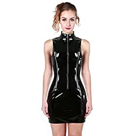 Fashion Queen Plus Size Sexy Pvc Sleeveless Mini Dress Nightclub Shiny Zip Slim Dress Small Black