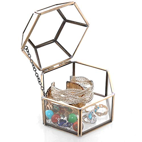 MyGift Faceted Hexagonal Clear Glass & Brass-Tone Metal Hinged Top Lid Terrarium Box/Tabletop Display Case (Sand Glass Case)