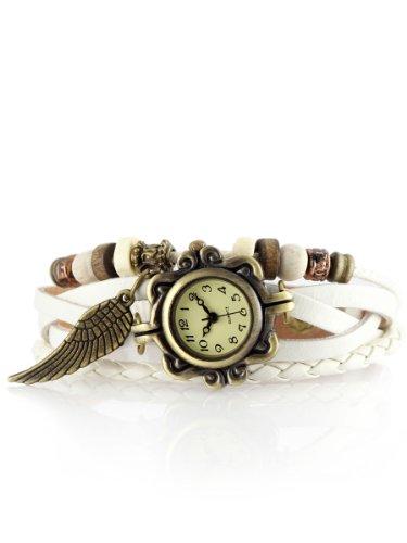 Alienwork Retro Quarz Armbanduhr Wickel Quarzuhr Uhr Armreif Kette wickeln gelb weiss Leder J043-02