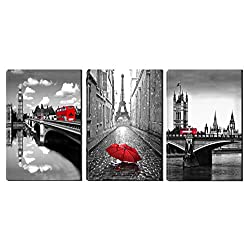 Xinqi art 3 Panels Black and White Pairs Eiffel Tower with Red Umbrella London's Big Ben Clock with Red Bus Canvas Wall Art, Ready to Hang for Living Room Bedroom Office (16X24inchX3)