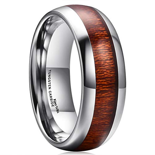 King Will Nature 8mm Domed Koa Wood Tungsten Carbide Ring Wedding Band Polished Finish Comfort Fit(8.5)