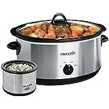 Crockpot SCV803-SS olla de cocción lenta manual de 8 cuartos con calentador de alimentos Little Dipper de 16 onzas, acero inoxidable