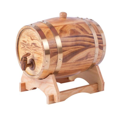 - 1.5L Wood Whiskey Barrel Dispenser Oak Aging Wine Barrel Decanter for Serving Table Home Accent Display Storage of Spirits, Liquors, Whiskey Liight Yellow