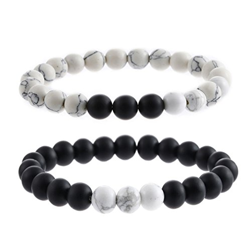 s and Hers Bracelet Turquoise Matte Agate Beaded Bracelet Bangle Stretch Anklets Men's and Women's Energy Healing Jewelry (2pcs white black) ()