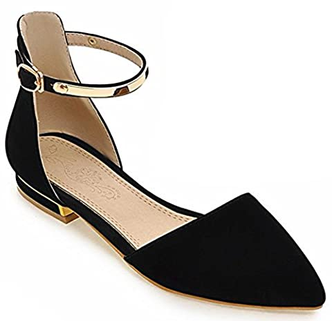 IDIFU Women's Dressy Ankle Strap Buckle Closed Pointed Toe Low Chunky Heels Sandals Shoes Black 12 B(M) US