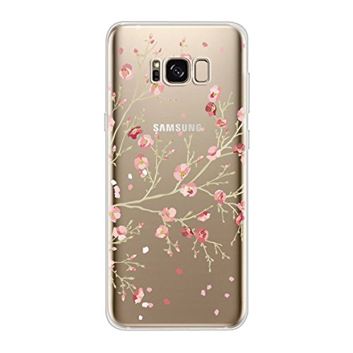 Yooky Samsung Galaxy S8 Silicone Case, Soft TPU Transparent Clear Gel Scratch-resistant Protective Skin Flower Bumper Cover for S8
