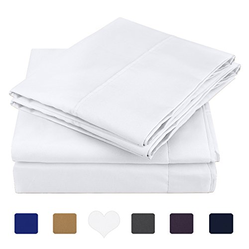 HOMEIDEAS 4 Piece Bed Sheet Set (Queen,White) 100% Brushed Microfiber 1800 Bedding Sheets Deep Pockets,Wrinkle & Fade Resistant (Sheet Set Bed)