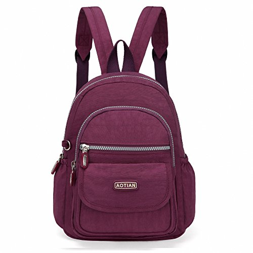 AOTIAN Mini Nylon Women Backpacks Casual Lightweight Strong Small Packback Daypack For Girls Cycling Hiking Camping Travel Outdoor Purple