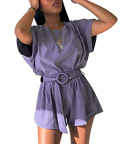 ThusFar Womens Sexy Rompers - Leisure Suit Short One Piece Jumpsuits Pants Purple Medium