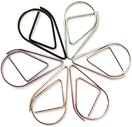 para oficina shool papeler/ía Livedealing 60 clips de metal con forma de gota para marcap/áginas Kawaii color dorado