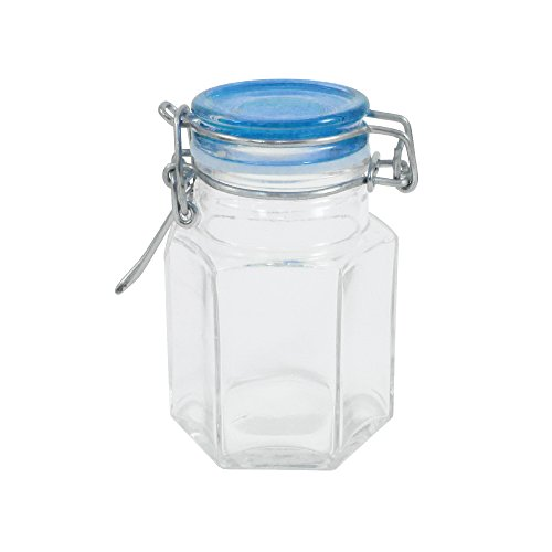 Mason Jar Glass 4 Oz With Lid (Blue)