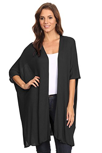 12 Ami Basic Short Sleeve Long Cardigan Black1 XL (Cardigan Short Sleeve Long)