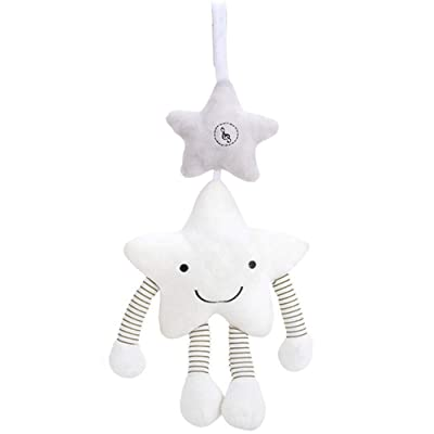 DeerBB White Five-Pointed Star Music Wind Chime Pendant Sound Car Boys and Girls Hanging Crib Bed Bell Companion Toy Baby Bed Rattle Pendant Gift: Toys & Games [5Bkhe0200365]