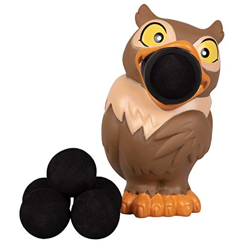 Hog Wild Owl Popper Toy - Shoot Foam Balls Up to 20 Feet - 6 Balls Included - Age 4+