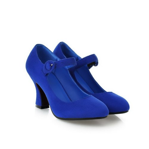 VogueZone009 Womens Closed Round Toe High Heel Suede Frosted PU Solid Mary Jane Pumps Blue 3oRdA