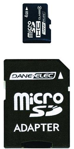 Dane Elec Camera Memory Cards (Dane-Elec 4 GB Class 4 microSDHC Flash Memory Card with SD Adapter (DEMDASDMC4096R))