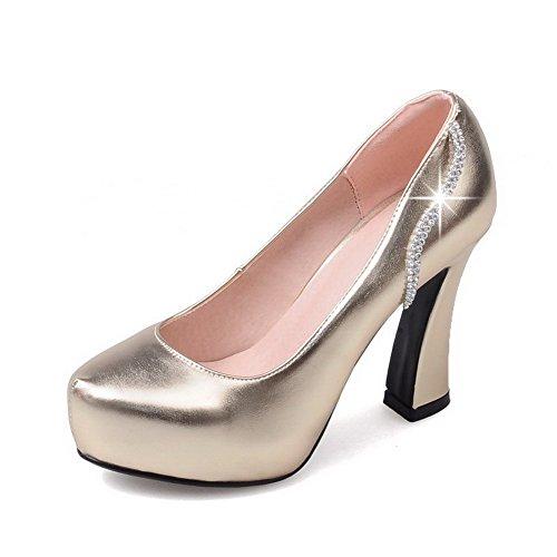Blend Absatz Golden Rund Schuhe AllhqFashion Ziehen Rein Pumps Damen Zehe auf Hoher Materialien HE4wtFq