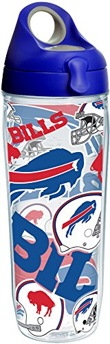 - Tervis 1248088 NFL Buffalo Bills All Over Tumbler with Wrap and Blue with Gray Lid 24oz Water Bottle, Clear