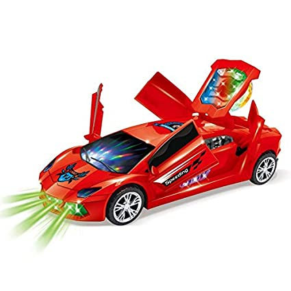 Zest 4 Toyz Funny Dancing car 3D Flashing Led Light Music 360 Degree  Rotating Car with Openable Door Sound Electric Cars Toys for Children Kids  Toys