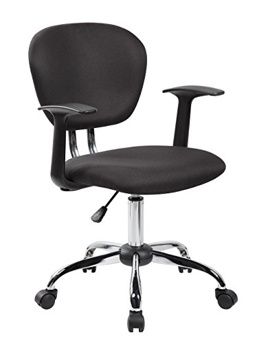 United Seating Mid Back Fabric Task Chair With Arms And Chrome Base, Black  United