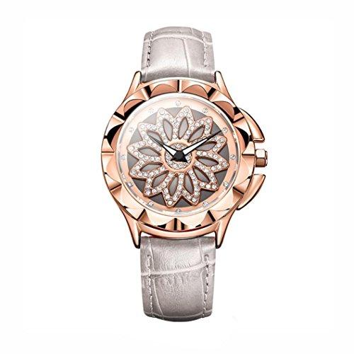 Watch,YJYdada Women Rotation Dress Watch Brand Leather Band Big Dial Bracelet Wristwatch (Gray) ()