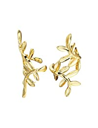Qiandi Women's 925 Sterling Silver Punk Yellow Leaves Ear Clip Wedding Birthday Gift Jewelry