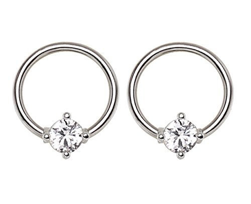 Prong Set CZ Crystal Captive Bead Ring - Sold as a Pair Steel Prong Set Captive Bead
