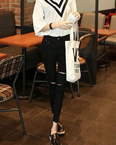 Al Da Donna Pantaloni Skinny Chic Schwarz Strappati A Ginocchio Vita Fashion Hx Jeans xq0aXI