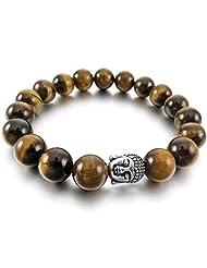TEMEGO Jewelry Mens Womens 10mm Alloy Link Wrist Bracelet, Energy Stone Tiger Eye Buddha Mala Beads Stretch Bracelet, Brown Silver