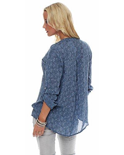 Jeans bras blouse lgre viscose ZARMEXX d't blouse Fisher Chemise belle tunique 3 tendre chemise Bleu 4 coupe floral Eq1w1TPg