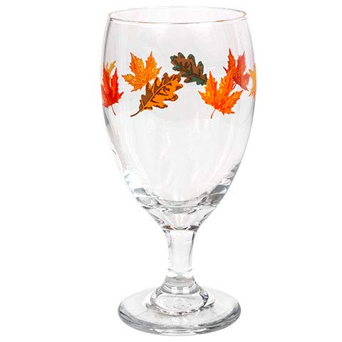 Water Goblets Set of 2 Multi Purpose 16 oz. Goblets-Glasses Adorned with Colorful Fall Leaves, Perfect size as Iced Tea Goblets, Wine, Cocktails,Seltzer and other Mixed Drinks. (2)