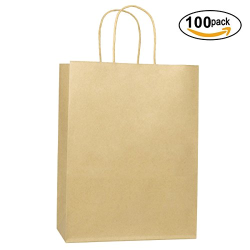 "BagDream 10""x5""x13"" Kraft Shopping Bags 100Pcs Brown Paper Bags Debbie, Mechandise Bags, Retail Bags, Party Bags Gift Bags, 100% Recycled Paper"